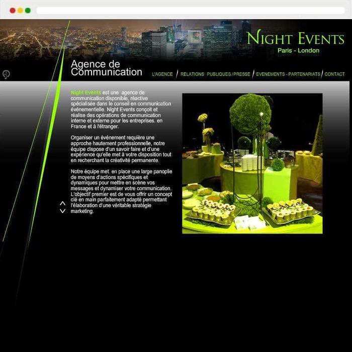 Website creation Night events