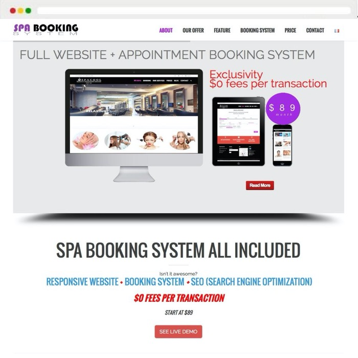 Website creation Spa Booking System